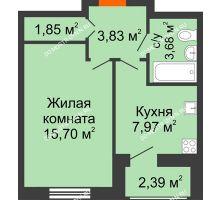 1 комнатная квартира 35,42 м² в ЖК Москва Град, дом 60/1 - планировка