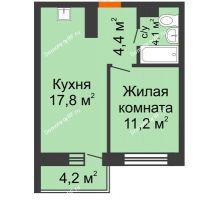 1 комнатная квартира 38,7 м² в ЖК Отражение, дом Литер 2.1 - планировка