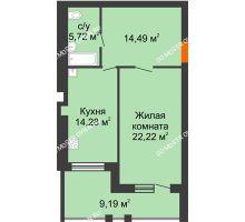 1 комнатная квартира 61,3 м² в ЖК Свобода, дом 2 очередь