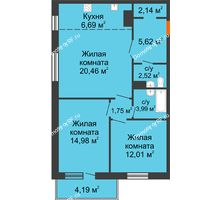 3 комнатная квартира 74,35 м² в ЖК На Хмельницкого, дом № 3 - планировка