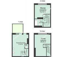 3 комнатная квартира 73 м² в КП Баден-Баден, дом № 26 (от 73 до 105 м2) - планировка