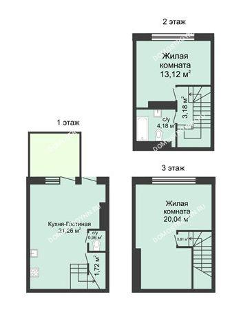 3 комнатная квартира 73 м² в КП Баден-Баден, дом № 44 (от 73 до 105 м2)