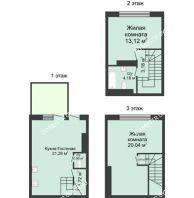 3 комнатный таунхаус 73 м² в КП Баден-Баден, дом № 44 (от 73 до 105 м2) - планировка