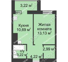 1 комнатная квартира 37,47 м² - ЖК Буревестник