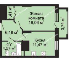 1 комнатная квартира 41,56 м², ЖК Гелиос - планировка