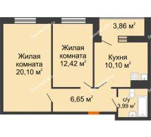 2 комнатная квартира 55,19 м² в ЖК Юго-Западный, дом ГП-1 - планировка