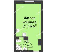 Студия 24,3 м² в ЖК Загородный мкрн Акварель  микрогород Стрижи, дом №7к2 - планировка