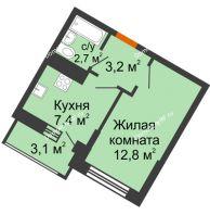 1 комнатная квартира 26,1 м² в ЖК Грани, дом Литер 4 - планировка