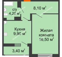 1 комнатная квартира 40,4 м² в ЖК Цветы, дом № 6-2 - планировка