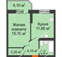 1 комнатная квартира 42 м² в ЖК Звездный-2, дом № 3 - планировка