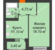 1 комнатная квартира 41,23 м² в ЖК Подкова на Гагарина, дом № 3А - планировка