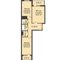 2 комнатная квартира 73,62 м², ЖК Дом у Самолета - планировка