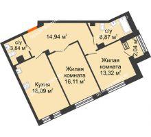 2 комнатная квартира 74,19 м², Дом премиум-класса Коллекция - планировка