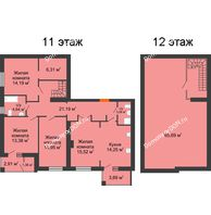 4 комнатная квартира 135,43 м² в ЖК Измаильский экоквартал, дом 1 этап - планировка