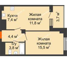 2 комнатная квартира 44,8 м² в ЖК Времена года, дом № 1 - планировка