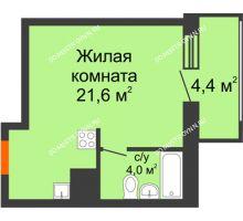 Студия 27,8 м² в ЖК Подкова на Родионова, дом № 2 - планировка