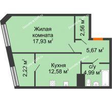 1 комнатная квартира 45,95 м² в Микрорайон Красный Аксай, дом Литер 21