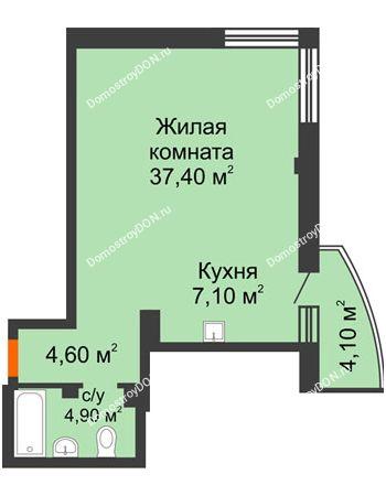 1 комнатная квартира 55,2 м² - ЖК Южная Башня