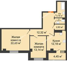 2 комнатная квартира 74,76 м², ЖК Площадь Ленина - планировка