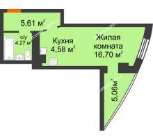 Студия 36,22 м² в ЖК Звезда, дом № 1 - планировка