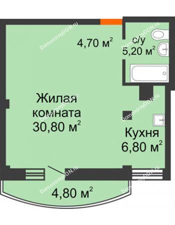 1 комнатная квартира 48,9 м² - ЖК Южная Башня