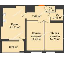 2 комнатная квартира 66,77 м² в ЖК Россия. Пять Столиц, дом 3 Этап - планировка