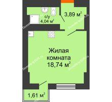 Студия 26,91 м² в ЖК Мечников, дом ул. Таврическая, 4 - планировка
