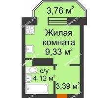 Студия 17,95 м² в ЖК Светлоград, дом Литер 16 - планировка