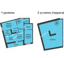 2 комнатная квартира 98,95 м², ЖК Русский Авангард - планировка