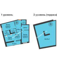 2 комнатная квартира 106,2 м², ЖК Русский Авангард - планировка