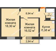 2 комнатная квартира 51,38 м² в ЖК Торпедо, дом № 18 - планировка