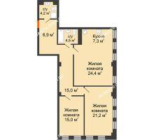 2 комнатная квартира 99,28 м² в ЖК Георгиевский, дом 6 - планировка