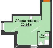 1 комнатная квартира 28,7 м² в Микрорайон Новая жизнь, дом позиция 19 - планировка