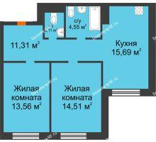 3 комнатная квартира 61,73 м² в ЖК Квартал на Московском, дом Альфа - планировка