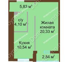 1 комнатная квартира 42,22 м² в ЖК Солнечный, дом № 2 - планировка