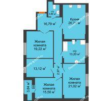 3 комнатная квартира 128,41 м² в ЖК Кристалл, дом Литер 2 - планировка