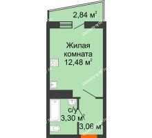 1 комнатная квартира 20,27 м² в ЖК Волна, дом 2 очередь (секция 4) - планировка