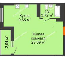 Студия 37,93 м², ЖК Орбита - планировка