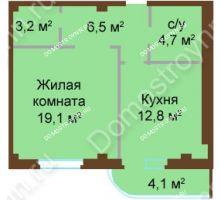 1 комнатная квартира 50,4 м², ЖК Бояр Палас - планировка