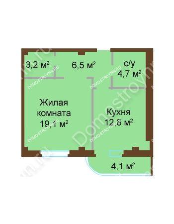 1 комнатная квартира 50,4 м² - ЖК Бояр Палас
