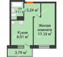 1 комнатная квартира 29,25 м² в ЖК Заречный, дом ГП-49 - планировка