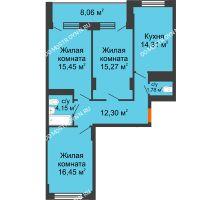 3 комнатная квартира 83,75 м², ЖД Весна - планировка