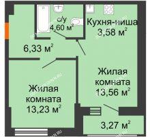 1 комнатная квартира 44,57 м² - ЖК Олимпийский