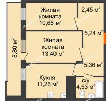 2 комнатная квартира 57,32 м² в ЖК Циолковский, дом № 3 - планировка