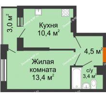 1 комнатная квартира 33,2 м² в ЖК Самолет 2, дом Литер 1 - планировка
