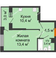 1 комнатная квартира 33,2 м² в ЖК Самолет, дом 2 очередь - Литер 1 - планировка