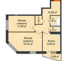 2 комнатная квартира 55,44 м², ЖК 9 Ярдов - планировка