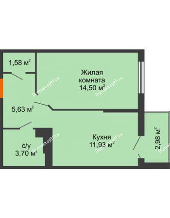 1 комнатная квартира 38,72 м² в ЖК Семейный парк, дом Литер 2
