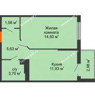 1 комнатная квартира 38,72 м² в ЖК Семейный парк, дом Литер 2 - планировка