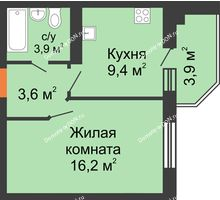 1 комнатная квартира 35,1 м² в ЖК Вересаево, дом Литер 6/2 - планировка